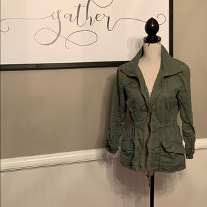 Fitted Army Green Utility Jacket